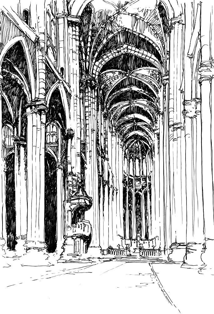 wnętrze katedry got ujęcie pionowe