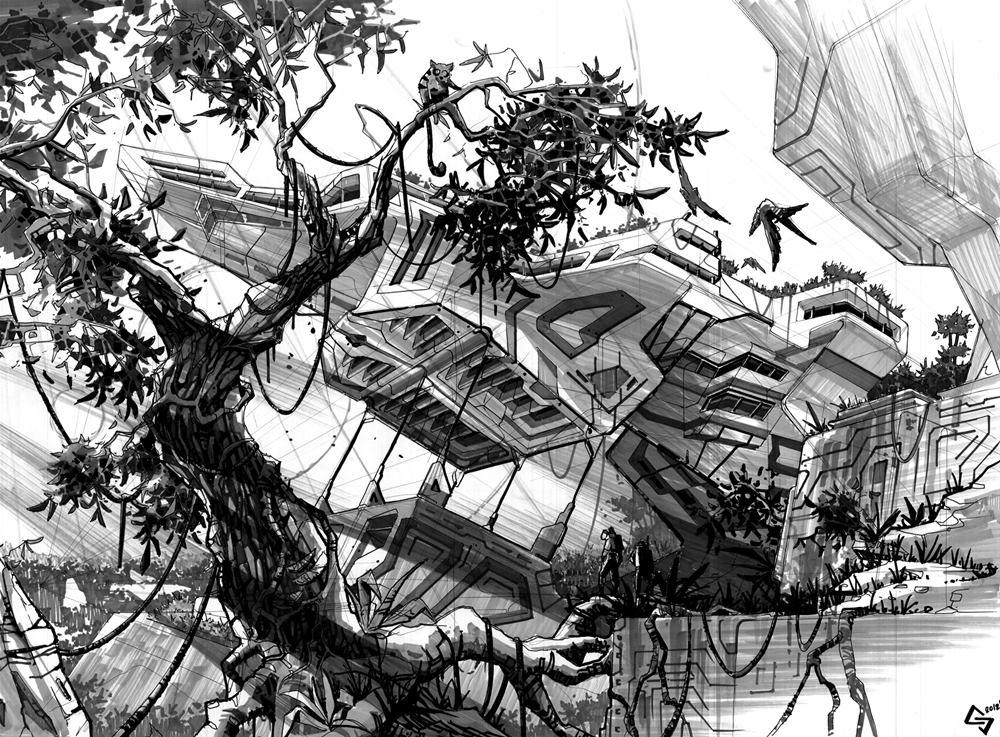 rysunek science fiction